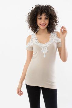 e52d49071a465 Suzy Shier Cold Shoulder Top with Crochet Yoke