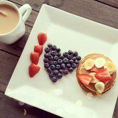 strawberry strawberries blue berry berries banana bananas pancake pancakes coffee breakfast heart shape heartshape morning