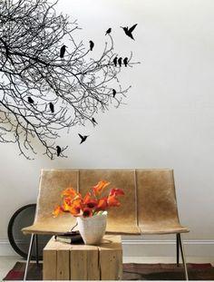 Baum Ast Blätter Vögel Vinyl Wandtattoo Aufkleber (WD-0161)