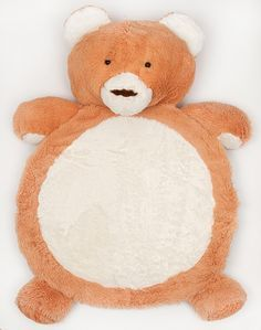 Plush Teddy Bear Baby Playmat (90cm x 80cm)....Your little one will love the incredible softness of this huge cuddly Plush Teddy Bear Mat.  The silky smooth material and cute animal face makes it perfect for play time, tummy time and rest time.   Babies love the sensory exploration of the big round belly, the squishy arms and the large teddy bear head.  The large size makes it an ideal floor rug and it has a non-slip backing to keep it in place.