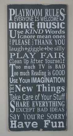 Playroom Rules Sign - Typography Word Art. $100.00, via Etsy. - inspiration