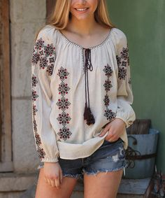 Another great find on #zulily! Ivory & Red Arabesque Embroidered Scoop Neck Top by Angie Apparel #zulilyfinds