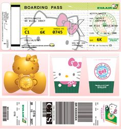 """Eva Air """"Hello Kitty"""" boarding card, baggage tag and misc items"""