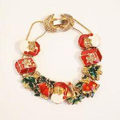 Vintage Christmas Slide Bracelet Enamel Charm by AlegriaCollection by VintageandMain
