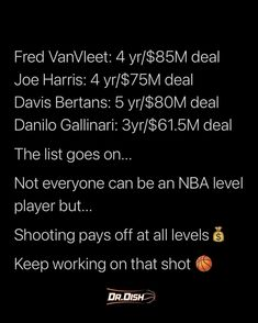 Not everyone can get an NBA level contract but it is clear that shooting pays. #basketball #bball #basketballdrills #basketballshoes #drdishbasketball #nba #collegebasketball