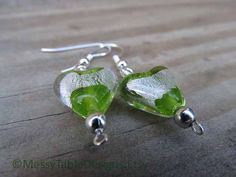 Green and Silver Earrings by MessyTableDesigns on Etsy, $10.00