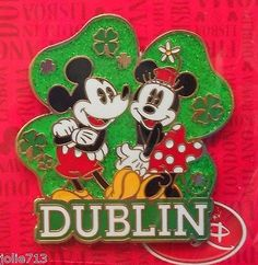 UK Disney Store Trading Pin - Mickey & Minnie Mouse St Patricks DUBLIN