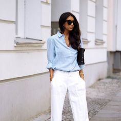 Keep things classic with an ovesized button down and wide leg trousers.