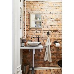25 Chic Bathrooms With Brick Walls ❤ liked on Polyvore featuring home, bed & bath, bath and bath accessories