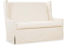 """Lee Industries slipcovered loveseat ihas a 20"""" seat heightand is 65 x 32 x 45 perfect for dining"""