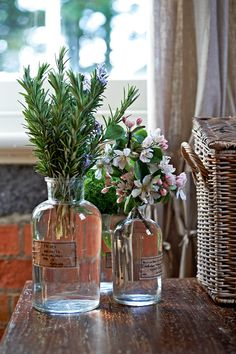 Fragrant herbs like rosemary look fantastic and fill the room with a wonderful aroma. #flowers. Photo, Mikkel Vang. Styling @Vanessa Samurio Colyer Tay http://www.homelife.com.au/