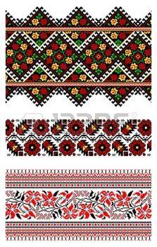 ukrainian: illustrations of ukrainian embroidery ornaments, patterns, frames and borders. Illustration