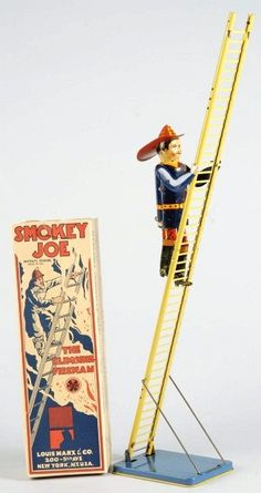 Tin Litho Marx Smokey Joe Fireman Wind-Up Toy ... I have an old video of my brother and cousin playing with this toy!
