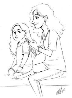 daughter mother drawing drawings easy pencil sketch google sketches mothers daughters getdrawings