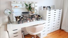 Clear Makeup Storage, Makeup Storage Organization, Ikea Linnmon Desk, Ikea Alex, Beauty Room, Table Desk, Makeup Collection, Drawers, Vanity