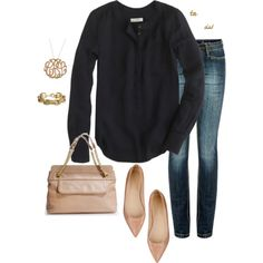 """""""simple drapey crepe"""" by shopwithm on Polyvore... with a different bag"""