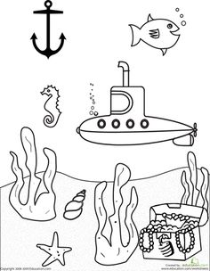 Color the Submarine Scene | Education.com