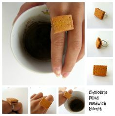 Polymer clay ring chocolate filled biscuit by PieceOfCakeHJ, €10.00