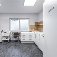 Schlichte weiße Labor-Eckzeile mit genügend Stauraum. Ein Spülbecken, Desinfektionsmittel und Seifenspender sind an der Rückwand installiert, Handschuhe und Papiertücher sind platzsparend aus dem Hängeschrank von unten zu entnehmen. Der Papierabwurf ist in der Arbeitsplatte integriert. Corner Desk, Cabinet, Storage, Furniture, Home Decor, Space Saving, Countertop, Closet Storage, Gloves