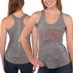 888f89e8ad993 Illinois Fighting Illini Womens Breaking Hearts Tri-Blend Racerback Tank Top  - Gray