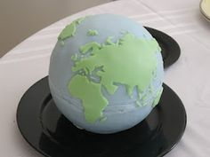 Gravity defying Planet Earth cake - Happy Earth Day!