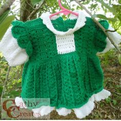 Hand #crocheted little girl's #dress in #green with white ruffles by @dusamae