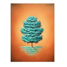 Impresión del arte contemporáneo del árbol azul, impresión de Giclee de Brown azul paisaje pintura, árboles de decoración casera, invierno pared arte, Simple árbol azul