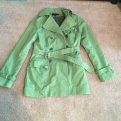 Express Medium green trench coat This is a classic trench in wonderful condition!  Express Jackets & Coats