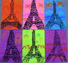 Cassie Stephens: In the Art Room: Printed Paris elementary art lesson printmaking Eiffel Tower France multi-cultural travel