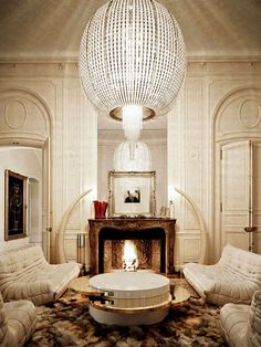 fireplace + chandelier and lounge