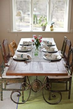 i need a huge dining table and want to be able to mix and match chairs but make it all look cohesive.  i like this.