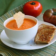Tomato Soup with Parmesan Crisps