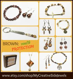 Brown symbolizes wealth and protection.  Shop variety of brown shades of bracelets, earrings, necklaces, inspiration blocks, etc.  SHOP: www.etsy.com/shop/MyCreativeSideJewels
