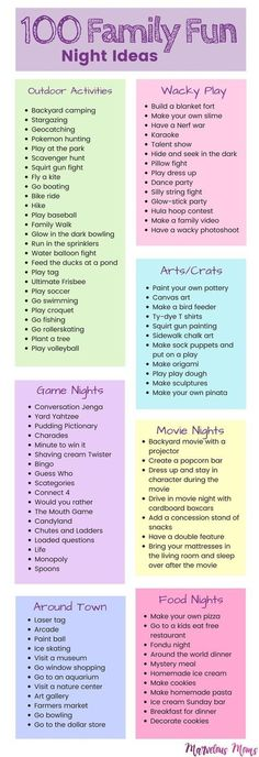 100 Family Fun Night Ideas | Kids activities | Playing with Kids | Activities for toddlers to teenagers | Free Family Nights | Outdoor activities | Movie Nights | Game Nights