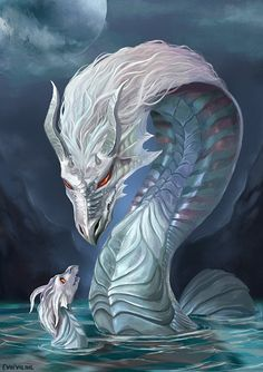 Water dragon - motherly love by Evolvana.deviantart.com on @DeviantArt
