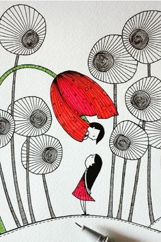 Campo Fiorito - Welcome to our website, We hope you are satisfied with the content we offer. Doodle Art Drawing, Mandala Drawing, Cool Art Drawings, Pretty Drawings, Drawing Tips, Easy Drawings, Drawing Ideas, Flowers Draw, Drawing Flowers