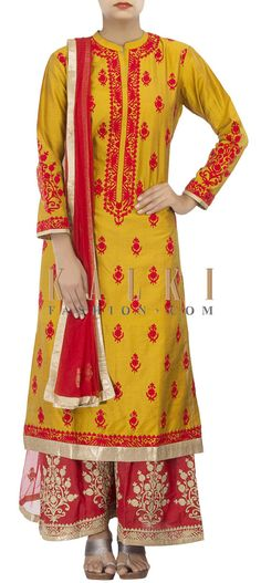 Buy Online from the link below. We ship worldwide (Free Shipping over US$100) http://www.kalkifashion.com/straight-fit-suit-in-mustard-adorn-in-zari-embroidery-only-on-kalki.html