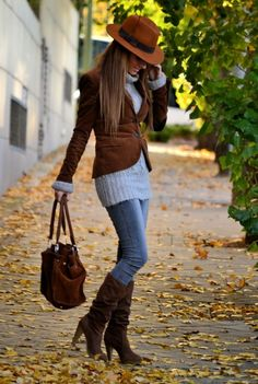 Fun Fall Outfit...I woud replace the bulky turtleneck with a lighter fall sweater with the same length
