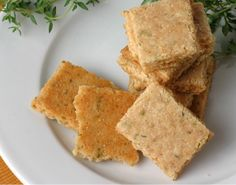 Parmesan Thyme Crackers~1 1/2 cups of almond flour, 1 1/2 cups of Parmesan cheese, finely grated, 1/4 teaspoon of sea salt, 1/2 teaspoon of dried Thyme (or more), 3 tablespoons of water (or as needed to hold the dough together).