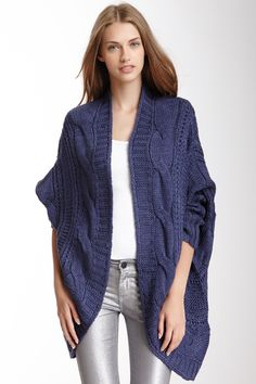 Open Cable Knit Cardigan
