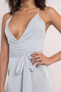 Dresses, Tobi, Silver Kalani Asymmetric Cami Wrap Dress
