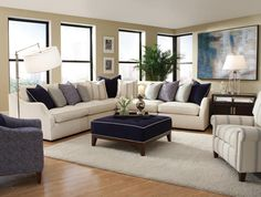 nautical navy accents on this huntington house furniture pit group