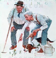 four_seasons_two_old_men_and_dog_spring_crocuses.jpg 774×800 pixels