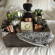 Moscow Mule gift basket. Mugs are by Sertado Copper. They make larger (18oz ) and better quality then any other brand.