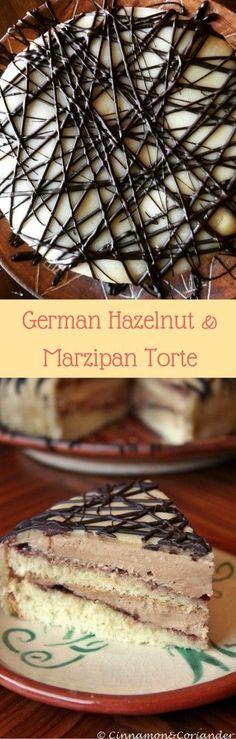 German Marzipan Hazelnut Cake with Sour Cherry Jam and Hazelnut Buttercream
