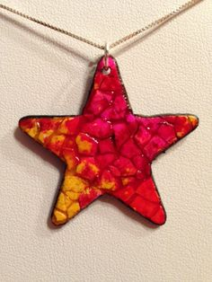 The Happy Egg | Yellow & Pink Star Eggshell Mosaic Pendant ...