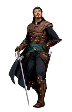 m Rogue Arcane Trickster Studded Leather Armor Cloak Rapier Dagger male urban City Keith lg