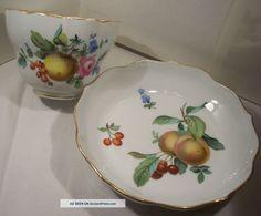 Antique Meissen Porcelain Duo Coffee Cup & Saucer Fruit Rose Cross ...