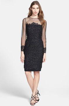 patra dresses petite   dresses guest Patra Illusion Yoke Lace Sheath Dress (Regular & Petite ...