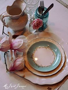 antique dishes - perfect place setting for Easter brunch